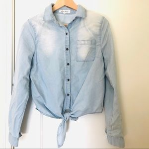 Love Tree Chambray Long Sleeve Top with Front Tie